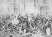 Einsatz der Kavallerie gegen Bürger 1848, Quelle: http://data.onb.ac.at/rec/baa10002954