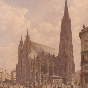 Stephansplatz mit der Domkirche. Quelle: http://data.onb.ac.at/rec/baa5358964